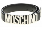 Silver Moschino Logo Belt In Black