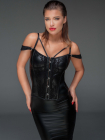 Corset Powerwetlook and lace Negru