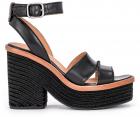 Carine Black Leather Heeled Sandal