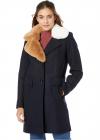 Asymmetrical Faux Fur Walker w Two Tone Fur Collar