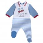Salopeta bebe Chicco manca lunga si botosei alb cu bleu 56