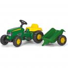 Tractor Cu Pedale Si Remorca Copii Verde