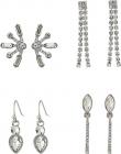 6 Pair Mixed Stud and Mini Drop Earrings Set
