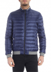 Light Blue Down Jacket With Grey Knit Edges