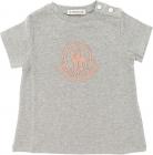 Moncler Kids Gray T Shirt With Pink Logo
