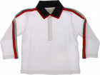 White Polo Shirt With Logo Stripes