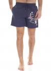 Blue Embroidered Swim Shorts