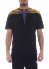 Wings Black T Shirt With Yellow And Purple Print