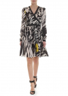 ETRO Floral Dress In White And Black Silk