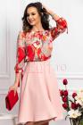 Bluza dama din satin rosie cu imprimeu multicolor si maneca treisfetur