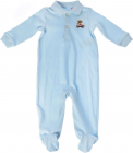 Romper In Light Blue With Bear Embroidery