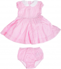 Striped Dress And Shorts Set In Pink And White