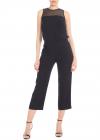 Black Crop Jumpsuit With Rear Neckline