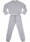 Melange Gray Tracksuit With Crop Sweatshirt