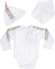 Newborn Set In White Cotton With Tartan Pattern