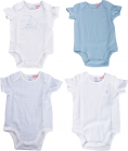 4 Pieces Set Of Bodysuits In Light Blue And White