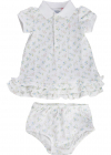 Floral Ruffled Polo Dress And Bloomer