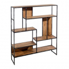 Raft living SHELVING NATURAL BLACK WOOD METAL 110 X 25 X 110 CM