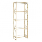 Raft living SHELVING 5 SHELVES GOLD METAL GLASS 56 X 26 X 154 CM