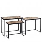 Masuta cafea S 3 LITTLE TABLES NATURAL BLACK 60 X 40 X 50 CM