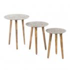 Masuta cafea S 3 LITTLE TABLES SILVER METAL WOOD 53 34 X 53 34 X 63 50