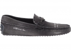 Gommino Driving Loafers In Charcoal Grey Denim
