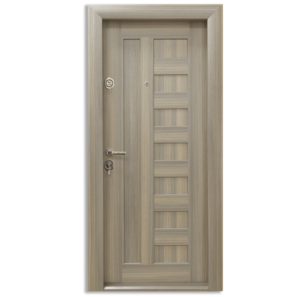 Usa metalica intrare Arta Door 410, cu fete din MDF laminat, 880 x 2010 mm, deschidere dreapta, culoare siena
