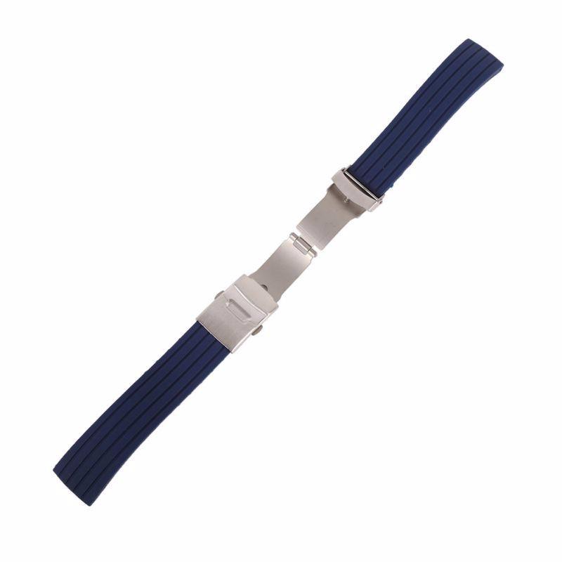 Curea de silicon albastra cu inchidere deployant 16mm 18mm 20mm 22mm 24mm WZ863