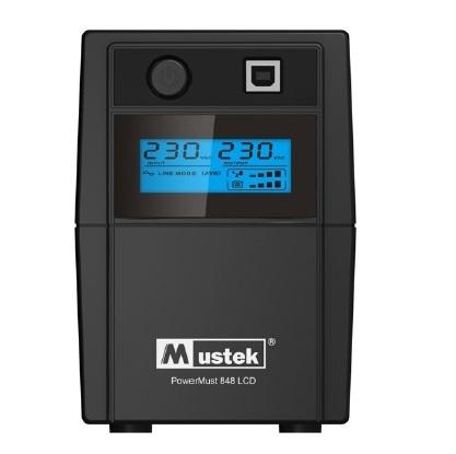 UPS MUSTEK PowerMust 848 LCD (850VA) Line Interactive, Schuko (include timbru verde 3 lei)