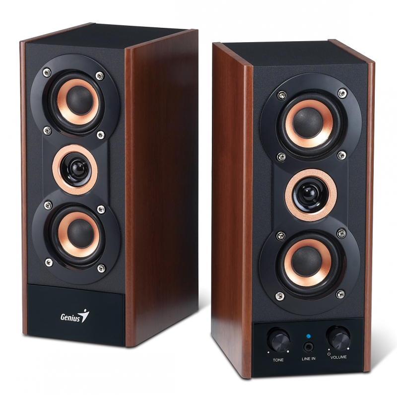 BOXE 2.0 GENIUS 'SP-HF800A', RMS: 10Wx2, black&cherry wood, line in '31730997100' , BOXSP-HF800A (include timbru verde 1 leu)