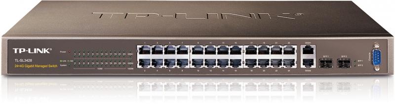 Switch L2 cu management 24 porturi 10/100 TP-LINK TL-SL3428 - doua porturi 10/100/1000 + doua sloturi SFP combo