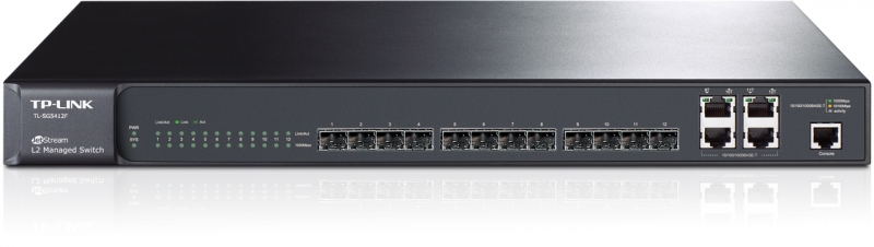 Switch L2 cu management full 12 sloturi SFP Gigabit + 4 port-uri Combo 10/100/1000BASE-T, TP-LINK (TL-SG5412F)