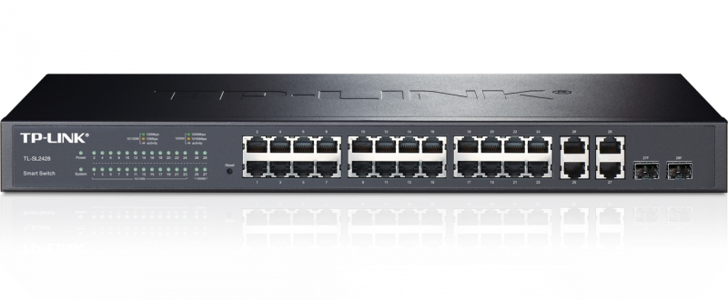 Switch Web Smart 24 porturi 10/100Mbps + 4 porturi 10/100/1000M, 2 sloturi SFP cu suport module MiniGBIC, TP-LINK TL-SL2428