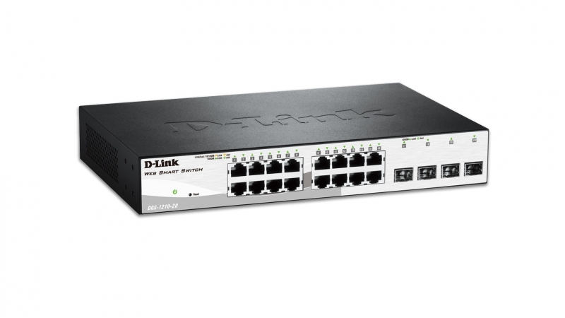 Switch 16 10/100/1000 Base-T port with 4 x 1000Base-T /SFP ports (DGS-1210-20)