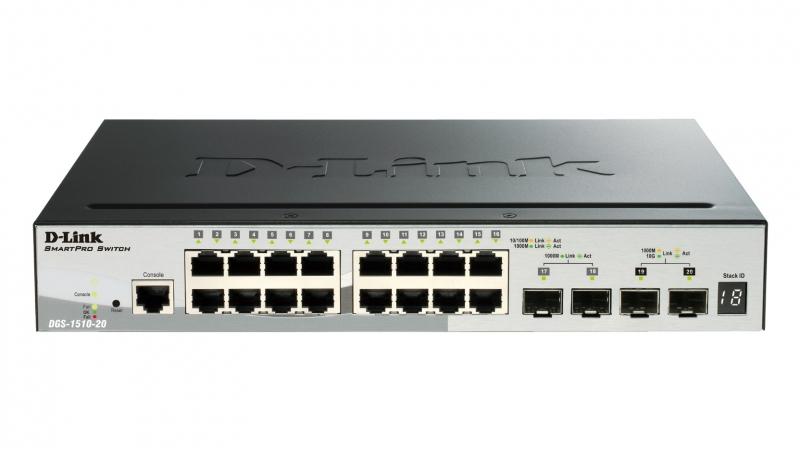 Switch Smart 16 port-uri. Gigabit. 2 sloturi SFP, 2 sloturi 10G SFP+, Stackabil, D-LINK (DGS-1510-20)