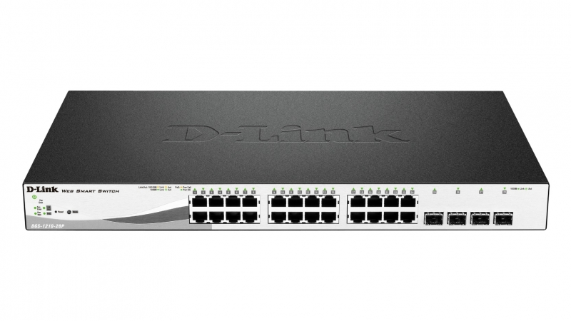 Switch Smart 24 port-uri Gigabit, plus 4 sloturi SFP, 19inch 1U rack-mountable, D-LINK (DGS-1210-28)